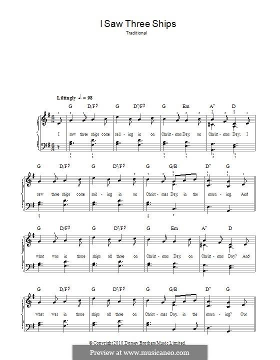 I Saw Three Ships: Für Klavier, leicht by folklore