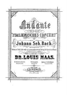 Italienischen Konzert, BWV 971: Teil II. Bearbeitung für Violine (oder Cello) und Klavier by Johann Sebastian Bach