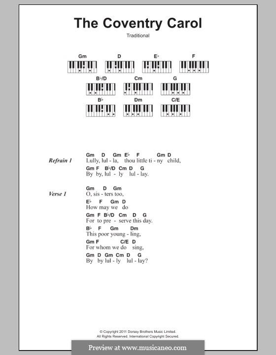 Coventry Carol: Text und Akkorde für Klavier by folklore