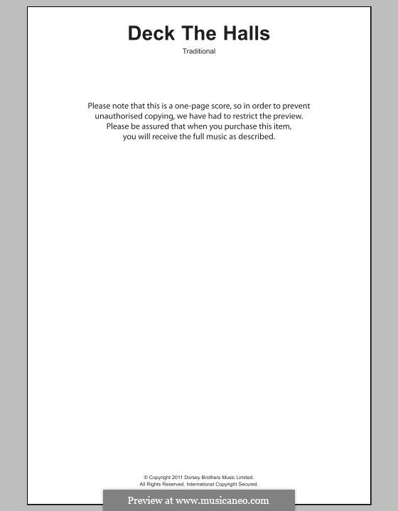 Deck the Hall (Printable): Text und Akkorde für Klavier by folklore