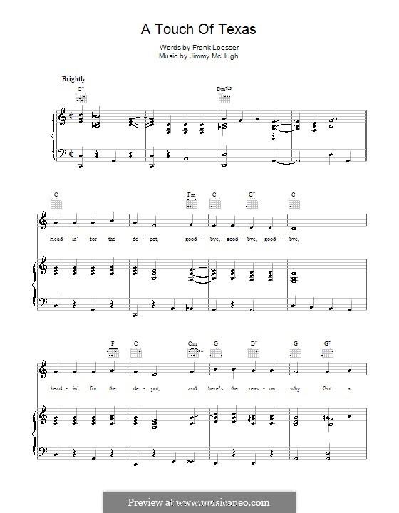 A Touch of Texas: Für Stimme und Klavier (oder Gitarre) by Jimmy McHugh, Frank Loesser