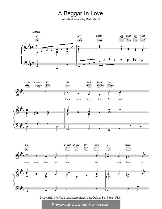 A Beggar in Love: Für Stimme und Klavier (oder Gitarre) by Bob Merrill