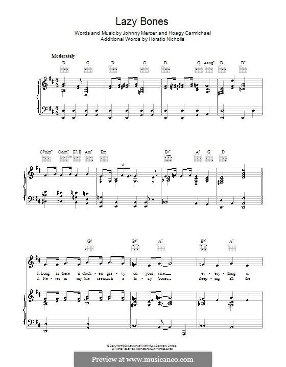Lazy Bones: Für Stimme und Klavier (oder Gitarre) by Hoagy Carmichael