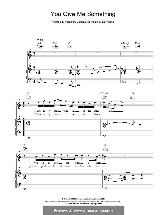 You Give Me Something: Für Stimme und Klavier (oder Gitarre) by Eg White, James Morrison