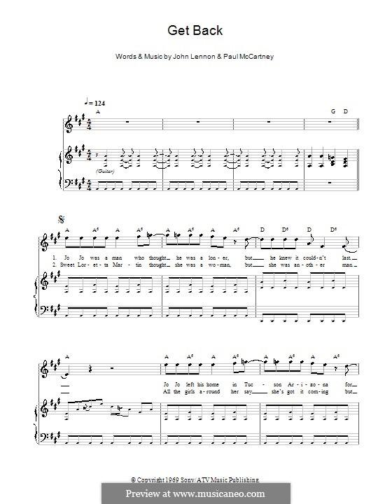 Get Back (The Beatles): Für Stimme und Klavier (oder Gitarre) by John Lennon, Paul McCartney