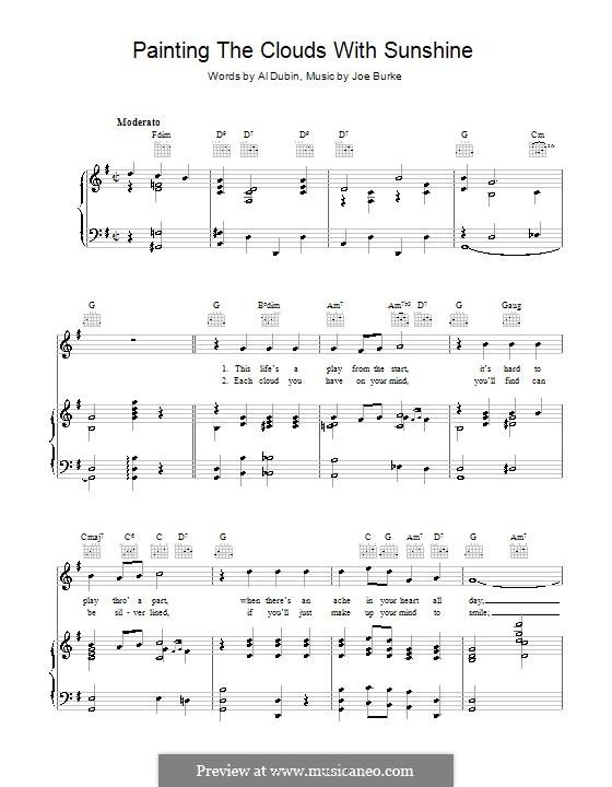 Painting the Clouds with Sunshine: Für Stimme und Klavier (oder Gitarre) by Joe Burke, Al Dubin