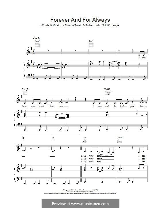 Forever and for Always: Für Stimme und Klavier (oder Gitarre) by Robert John Lange, Shania Twain