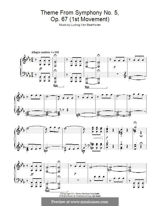Teil I: Version für Klavier (Thema) by Ludwig van Beethoven