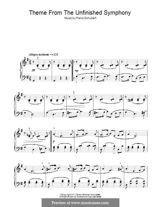 Sinfonie Nr.8 in h-Moll 'Unvollendete', D.759: Thema. Version für Klavier (Noten von hoher Qualität) by Franz Schubert