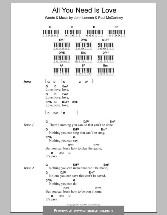 All You Need Is Love (The Beatles): Text und Akkorde für Klavier by John Lennon, Paul McCartney