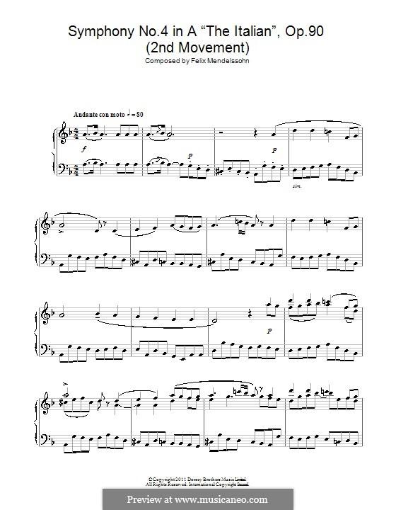 Sinfonie Nr.4 in A-Dur 'Italienische', Op.90: Teil II (Fragment), für Klavier by Felix Mendelssohn-Bartholdy