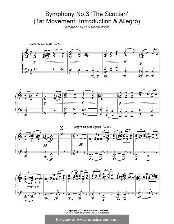 Sinfonie Nr.3 in a-Moll 'Schottische', Op.56: Teil I. Version für Klavier by Felix Mendelssohn-Bartholdy