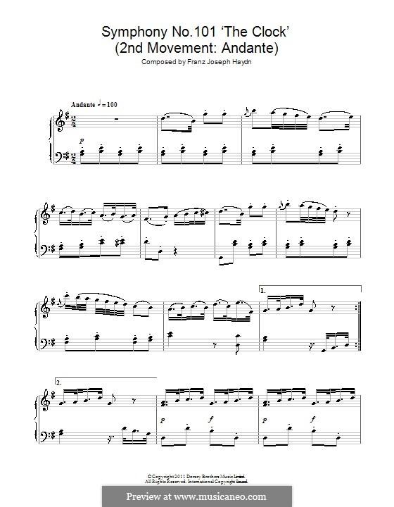 Sinfonie Nr.101 in D-Dur 'Die Uhr', Hob.I/101: Andante. Version für Klavier by Joseph Haydn