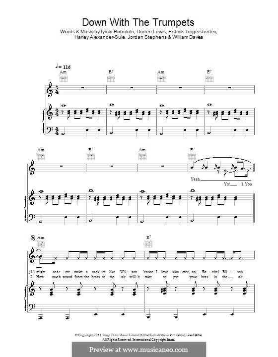 Down with the Trumpets (Rizzle Kicks): Für Stimme und Klavier (oder Gitarre) by Harley Alexander-Sule, Jordan Stephens, Patrick Torgersbraten, William Davies