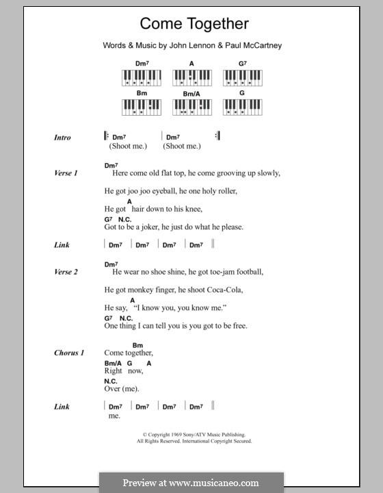 Come Together (The Beatles): Text und Akkorde für Klavier by John Lennon, Paul McCartney