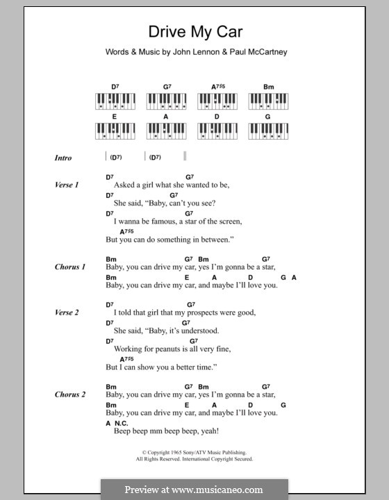 Drive My Car (The Beatles): Text und Akkorde für Klavier by John Lennon, Paul McCartney