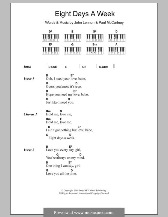 Eight Days a Week (The Beatles): Text und Akkorde für Klavier by John Lennon, Paul McCartney