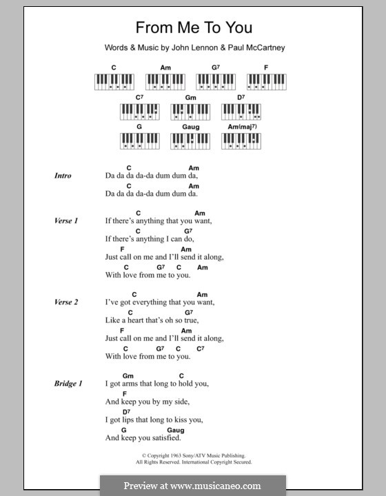 From Me to You (The Beatles): Text und Akkorde für Klavier by John Lennon, Paul McCartney