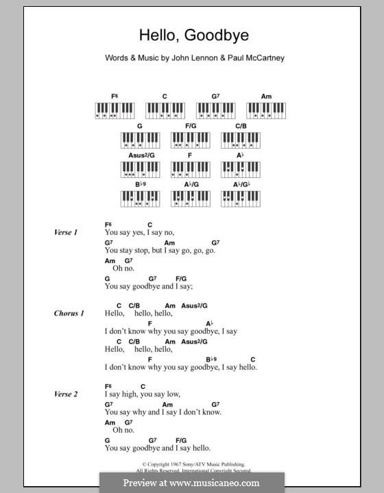 Hello, Goodbye (The Beatles): Text und Akkorde für Klavier by John Lennon, Paul McCartney