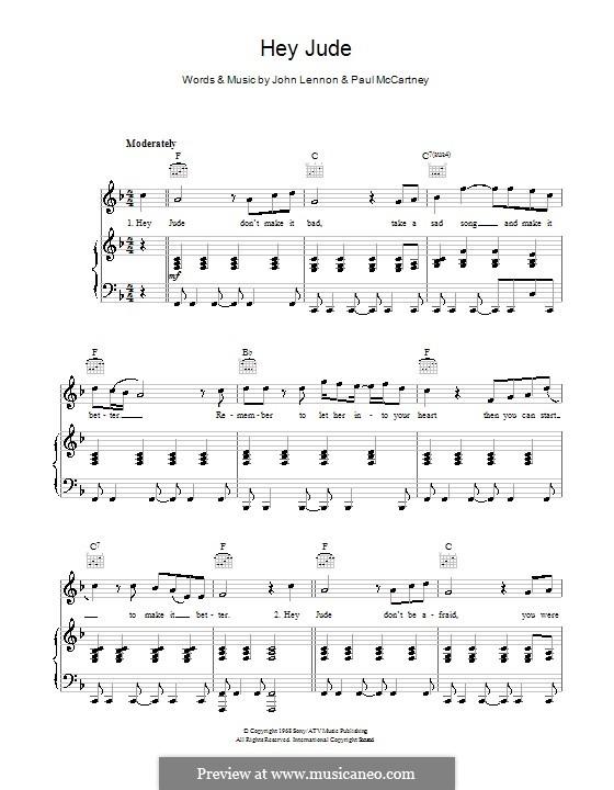 Hey Jude (The Beatles): Für Stimme und Klavier oder Gitarre (Noten von hohem Qualität) by John Lennon, Paul McCartney
