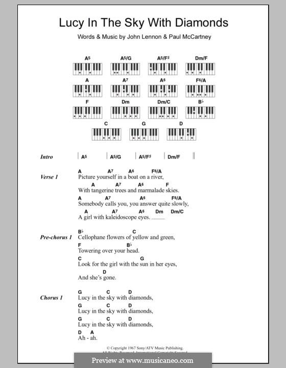 Lucy in the Sky with Diamonds (The Beatles): Text und Akkorde für Klavier by John Lennon, Paul McCartney