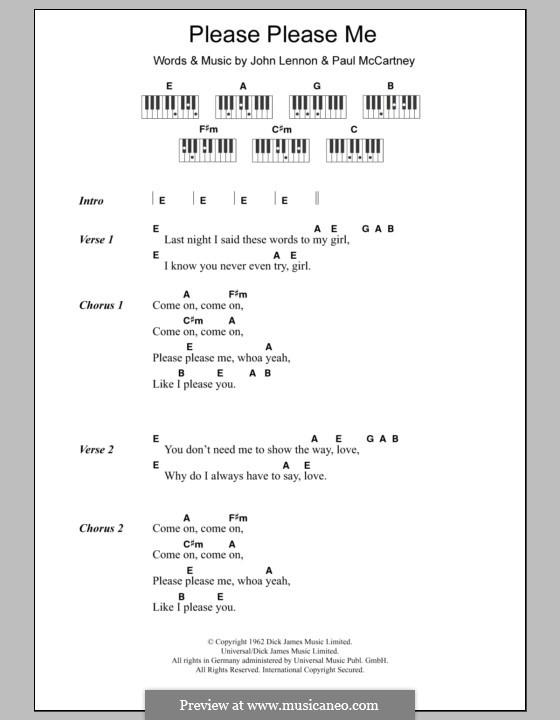 Please Please Me (The Beatles): Text und Akkorde für Klavier by John Lennon, Paul McCartney