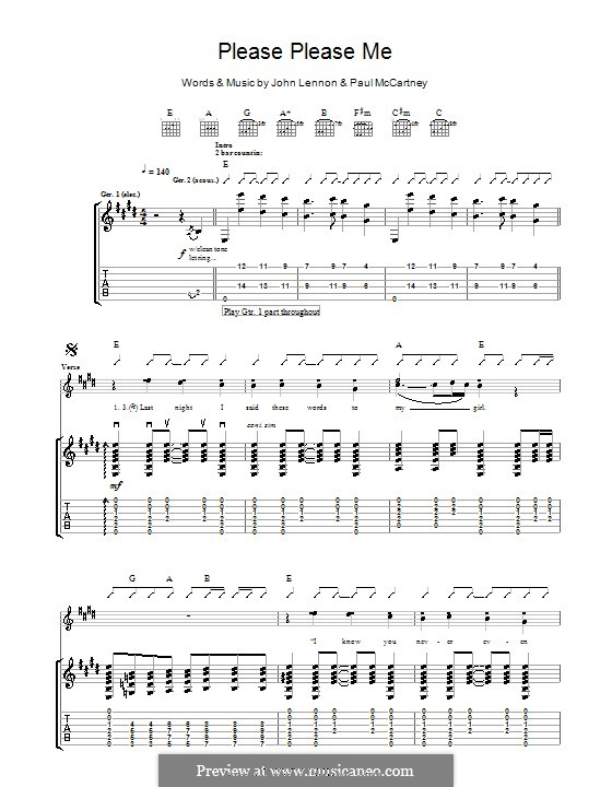 Please Please Me (The Beatles): Für Gitarre mit Tabulatur by John Lennon, Paul McCartney