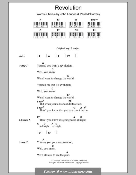 Revolution (The Beatles): Text und Akkorde für Klavier by John Lennon, Paul McCartney