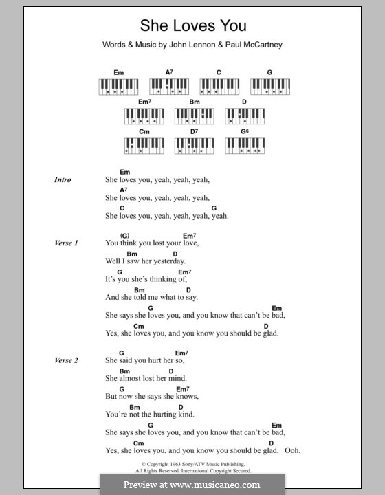 She Loves You (The Beatles): Text und Akkorde für Klavier by John Lennon, Paul McCartney