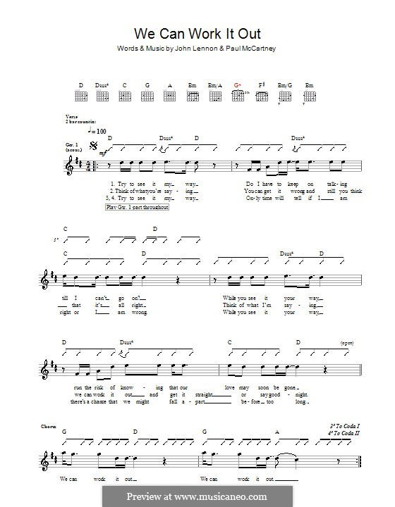 We Can Work it Out (The Beatles): Für Gitarre mit Tabulatur by John Lennon, Paul McCartney
