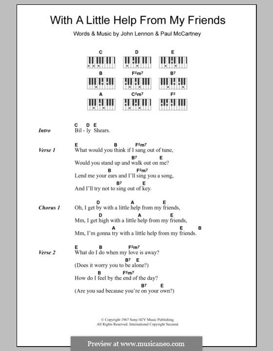 With a Little Help from My Friends (The Beatles): Text und Akkorde für Klavier by John Lennon, Paul McCartney