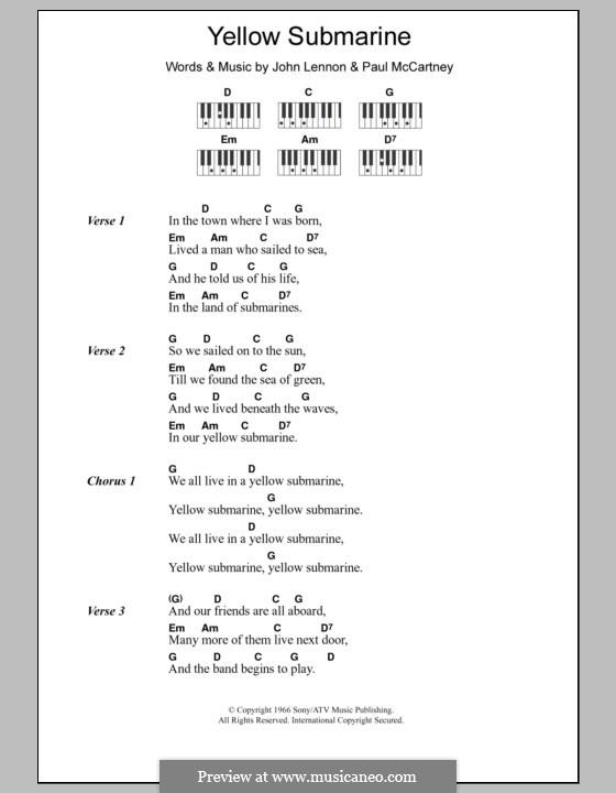 Yellow Submarine (The Beatles): Text und Akkorde für Klavier by John Lennon, Paul McCartney