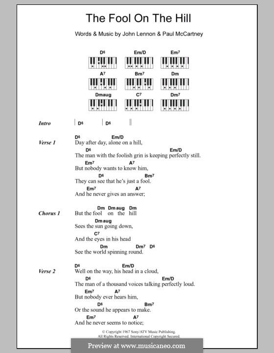 The Fool on the Hill (The Beatles): Text und Akkorde für Klavier by John Lennon, Paul McCartney
