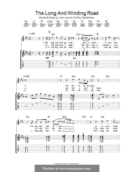 The Long and Winding Road (The Beatles): Für Gitarre by John Lennon, Paul McCartney