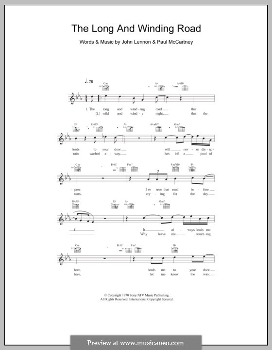 The Long and Winding Road (The Beatles): Melodie, Text und Akkorde by John Lennon, Paul McCartney