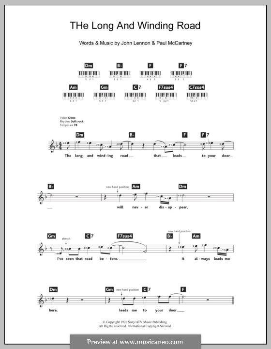 The Long and Winding Road (The Beatles): Für Keyboard by John Lennon, Paul McCartney