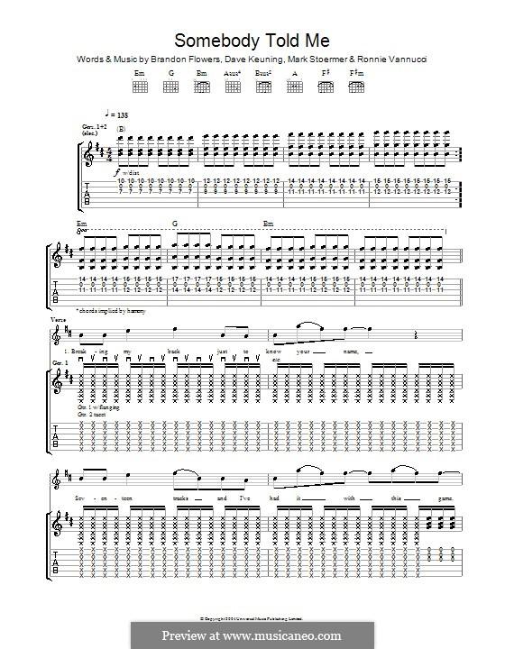 Somebody Told Me (The Killers): Für Gitarre mit Tabulatur by Brandon Flowers, Dave Keuning, Mark Stoermer, Ronnie Vannucci