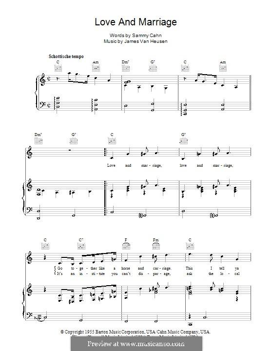 Love and Marriage (Frank Sinatra): Für Stimme und Klavier (oder Gitarre) by Jimmy Van Heusen