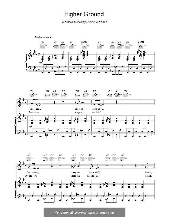 Higher Ground: Für Stimme und Klavier (oder Gitarre) by Stevie Wonder