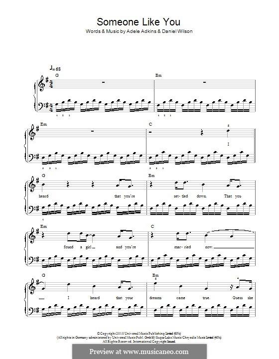 Someone Like You: Einfache Noten für Klavier (G-Dur) by Adele, Daniel Wilson