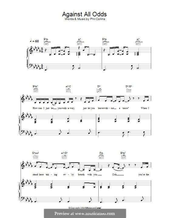 Against All Odds (Take a Look at Me Now): Für Stimme und Klavier (oder Gitarre) by Phil Collins