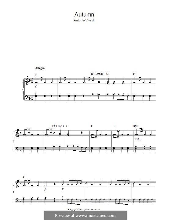 Violinkonzert Nr.3 in F-Dur 'Herbst', RV 293: Movement III. Version for easy piano by Antonio Vivaldi