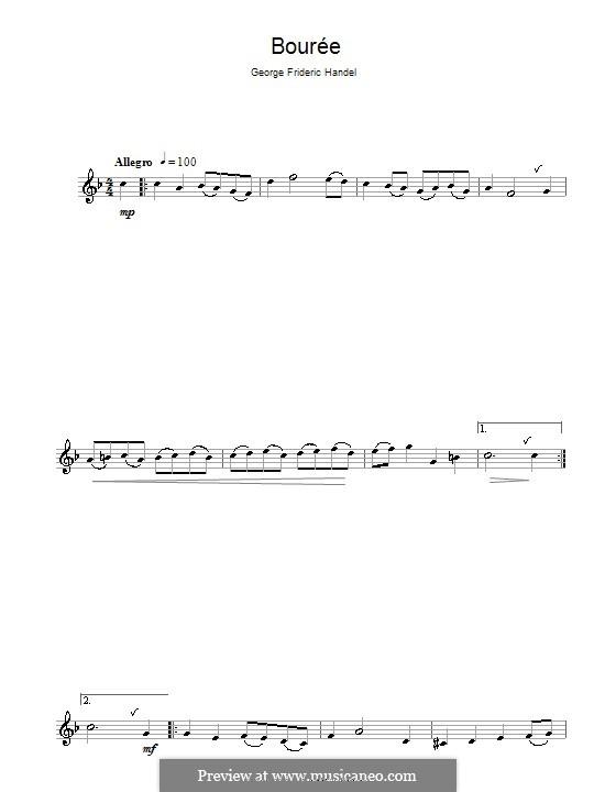 Bourrée in G-Dur: Für Klarinette und Klavier – Solo Stimme by Georg Friedrich Händel