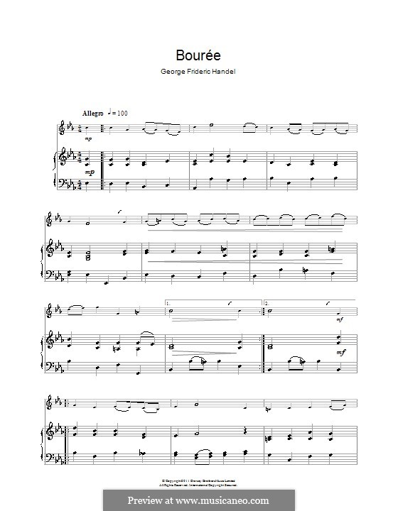 Bourrée in G-Dur: Für Klarinette und Klavier by Georg Friedrich Händel