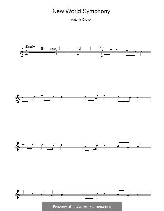 Teil II (Largo): Theme, for flute by Antonín Dvořák
