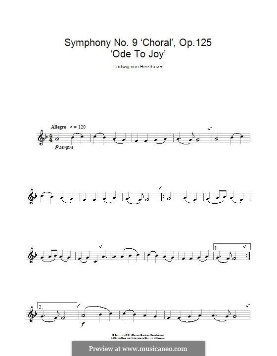 Ode an die Freude: Version für Klarinette by Ludwig van Beethoven