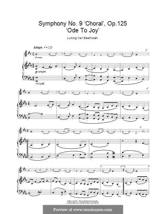 Ode an die Freude: Version für Klarinette und Klavier by Ludwig van Beethoven