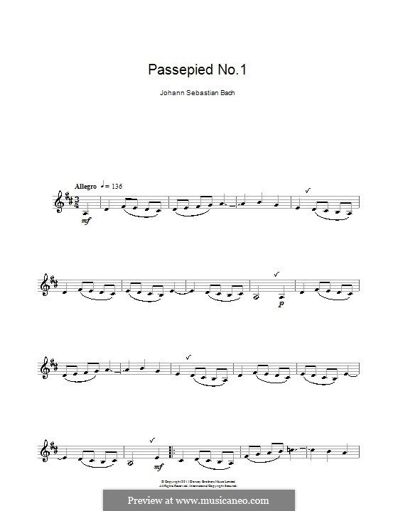 Orchestersuite Nr.1 in C-Dur, BWV 1066: Passepied No.1, for Clarinet by Johann Sebastian Bach