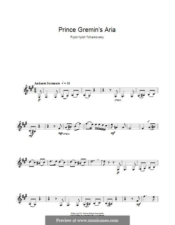 Akt III, Nr.20a  Arie des Gremin: Bearbeitung für Klarinette und Klavier – Solostimme by Pjotr Tschaikowski