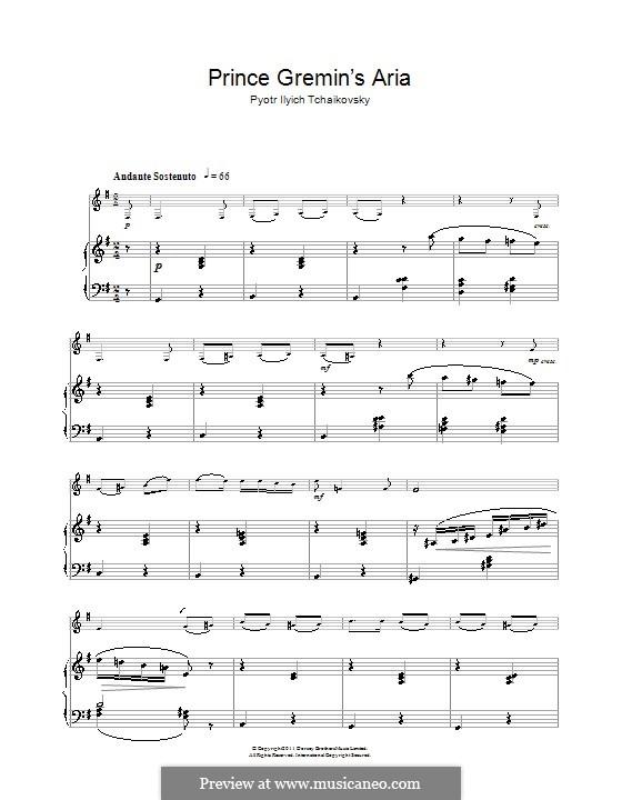 Akt III, Nr.20a  Arie des Gremin: Bearbeitung für Klarinette und Klavier by Pjotr Tschaikowski